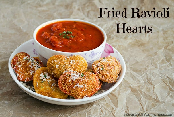 Fried Ravioli Hearts from In Search of Yummy-ness