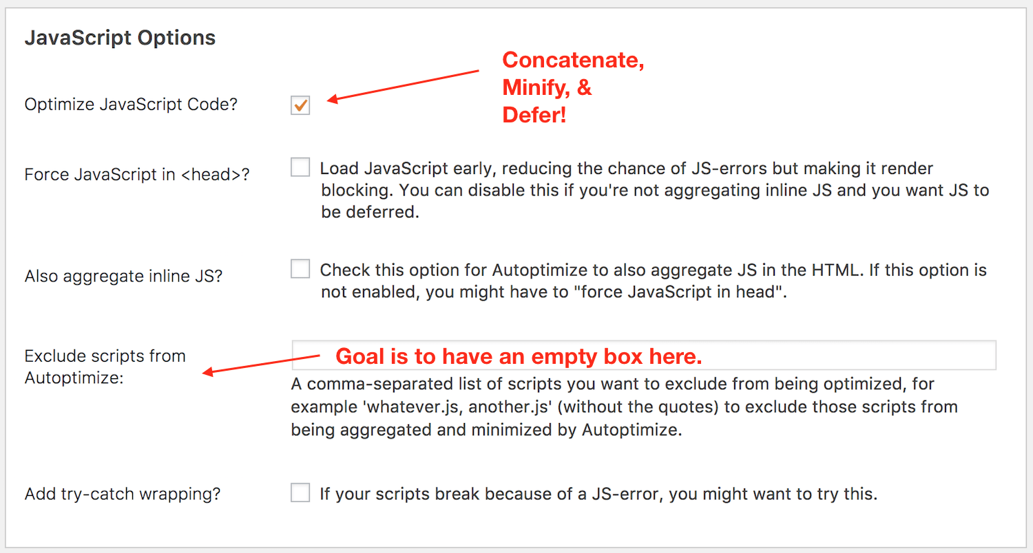 Enable the js section in autoptimize